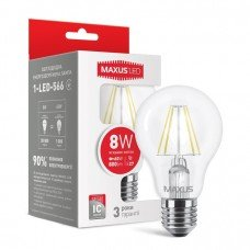 Лампа MAXUS  LED A60 FM  8W 4100K 220V E27