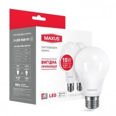 Лампа MAXUS  LED A70 15W 4100K 220V E27 (2 шт.)