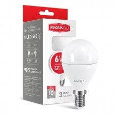 Лампа MAXUS  LED G45 F 6W 3000K 220V E14