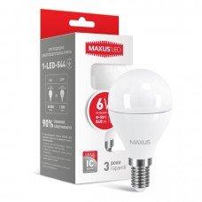 Лампа MAXUS  LED G45 F 6W 4100K 220V E14
