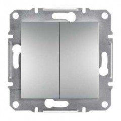 ASFORA  Двухклавишный выключатель алюминий, Schneider electric