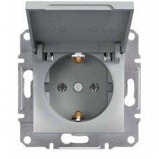 ASFORA Розетка одноместная с заземляющим контактом с крышкой алюминий, Schneider electric