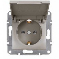 ASFORA Розетка одноместная с заземляющим контактом с крышкой бронза, Schneider electric