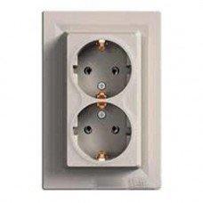 ASFORA Розетка двухместная с заземляющим контактом бронза, Schneider electric