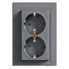 ASFORA Розетка двухместная с заземляющим контактом сталь, Schneider electric