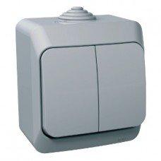 CEDAR PLUS Выключатель двухклавишный IP-44 (серый) Schneider electric