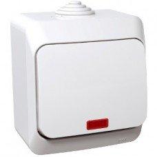CEDAR PLUS Выключатель одноклавишный с подсветкой IP-44 (белый) Schneider electric