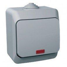 CEDAR PLUS Выключатель одноклавишный с подсветкой IP-44 (серый) Schneider electric