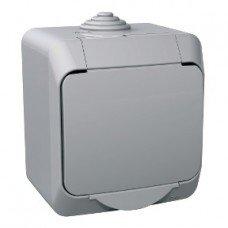 CEDAR PLUS Выключатель одноклавишный IP-44 (серый) Schneider electric