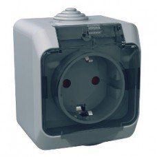 CEDAR PLUS Розетка  с заземлением и защитной крышкой IP-44 (серый) Schneider electric