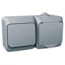 CEDAR PLUS Розетка + выключатель одноклавишный (серый) Schneider electric