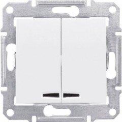 Выключатель 2-клавишный с подсветкой Schneider Electric Sedna, белый