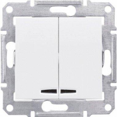 Выключатель 2-клавишный с подсветкой Schneider Electric Sedna, белый - описание, характеристики, отзывы