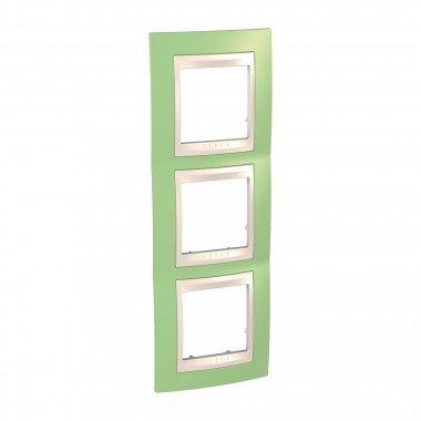 Рамка 3-постовая вертикальная Schneider Electric Unica Plus, зеленое яблоко/бежевый - описание, характеристики, отзывы