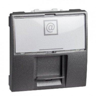 Розетка компьютерная RJ45 (кат. 5е) UTP неэкранированная, 2м, Schneider Electric Unica, графит - описание, характеристики, отзывы