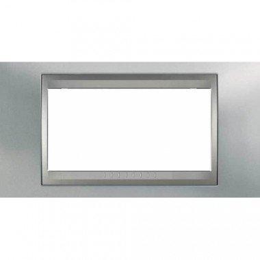 Рамка 4-модульная  Schneider Electric Unica ТОР, хром матовый/алюминий - описание, характеристики, отзывы
