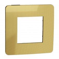 Рамка 1-постовая, Золото/антрацит