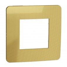Рамка 1-постовая, Золото/бежевый