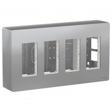 Блок unica system+ открытая установка 4х2, Алюминий