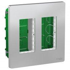 Блок unica system+ скрытая установка 2х2, Алюминий