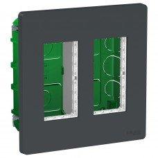 Блок unica system+ скрытая установка 2х2, Антрацит