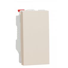 Выключатель 1-клавишный кнопочный (схема 1), 10А, 1 модуль, Бежевый