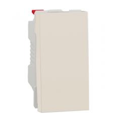 Переключатель 1-клавишный схема 6, 10А, 1 модуль, Бежевый