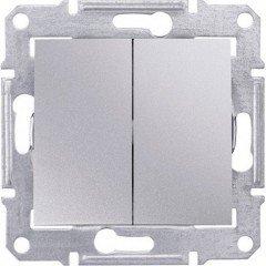 Переключатель 2-клавишный проходной Schneider Electric Sedna, алюминий