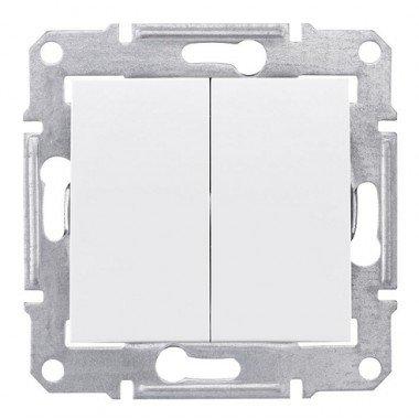Переключатель 2-клавишный проходной Schneider Electric Sedna, белый - описание, характеристики, отзывы