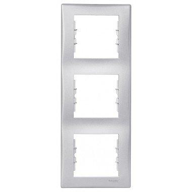 Рамка 3-постовая вертикальная Schneider Electric Sedna, алюминий - описание, характеристики, отзывы