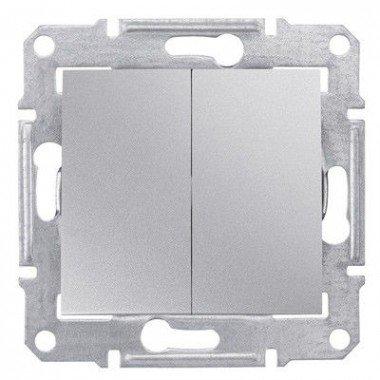 Выключатель 2-клавишный Schneider Electric Sedna, алюминий - описание, характеристики, отзывы