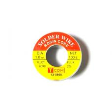 Припой оловянно-свинцовый ПОС-60, диаметр-0,6мм, 100гр., катушка