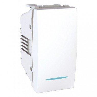 Переключатель 1-клавишный перекрестный с подсветкой, 1м, Schneider Electric Unica, белый - описание, характеристики, отзывы