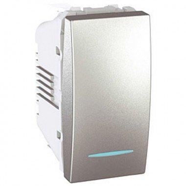 Переключатель 1-клавишный с подсветкой, 1м, Schneider Electric Unica, алюминий - описание, характеристики, отзывы