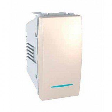 Переключатель 1-клавишный с подсветкой, 1м, Schneider Electric Unica, слоновая кость - описание, характеристики, отзывы