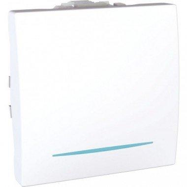 Переключатель 1-клавишный с подсветкой, 2м, Schneider Electric Unica, белый - описание, характеристики, отзывы