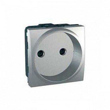 Розетка без заземления с защитными шторками, 2м, Schneider Electric Unica, алюминий - описание, характеристики, отзывы
