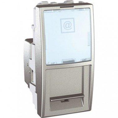 Розетка компьютерная RJ45 (кат. 5е) UTP неэкранированная, 1м, Schneider Electric Unica, алюминий - описание, характеристики, отзывы