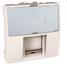 Розетка компьютерная RJ45 (кат. 5е) FTP экранированная, 2м, Schneider Electric Unica, слоновая кость