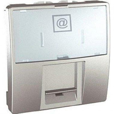 Розетка компьютерная RJ45 (кат. 5е) UTP неэкранированная, 2м, Schneider Electric Unica, алюминий - описание, характеристики, отзывы