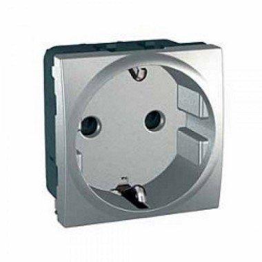 Розетка с заземлением, 2м, Schneider Electric Unica, алюминий - описание, характеристики, отзывы