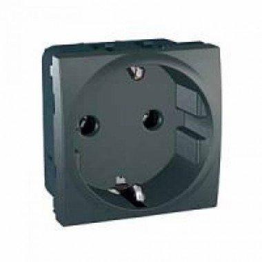 Розетка с заземлением, 2м, Schneider Electric Unica, графит - описание, характеристики, отзывы