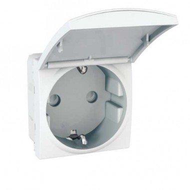 Розетка с заземлением, с защитными шторками и крышкой, 2м, Schneider Electric Unica, белый - описание, характеристики, отзывы