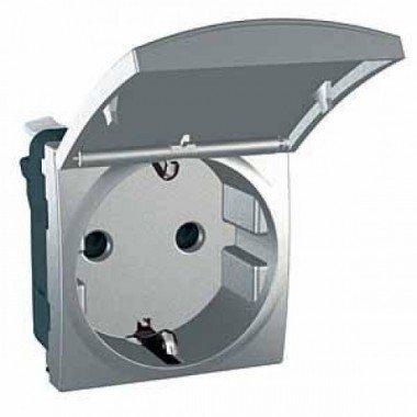 Розетка с заземлением, с защитными шторками и крышкой, 2м, Schneider Electric Unica, алюминий - описание, характеристики, отзывы