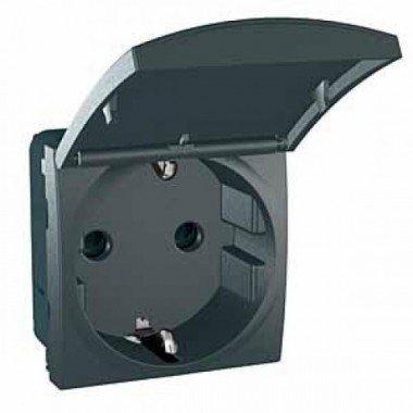 Розетка с заземлением, с защитными шторками и крышкой, 2м, Schneider Electric Unica, графит - описание, характеристики, отзывы