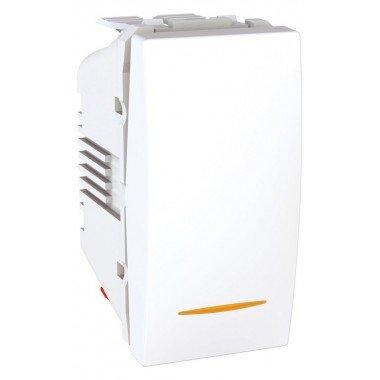 Выключатель 1-клавишный с подсветкой 1м, Schneider Electric Unica, белый - описание, характеристики, отзывы