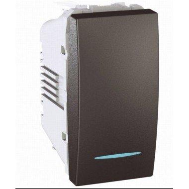 Выключатель кнопочный 1-клавишный с подсветкой, 1м, Schneider Electric Unica, графит - описание, характеристики, отзывы
