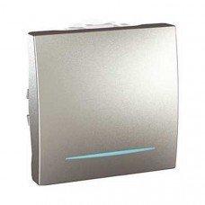Выключатель 1-клавишный с подсветкой 2м, Schneider Electric Unica, алюминий