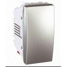 Выключатель кнопочный 1-клавишный, 1м, Schneider Electric Unica, алюминий