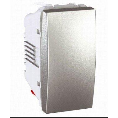 Выключатель кнопочный 1-клавишный, 1м, Schneider Electric Unica, алюминий - описание, характеристики, отзывы